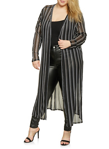 Plus Size Striped Mesh Duster,BLACK/WHITE,large