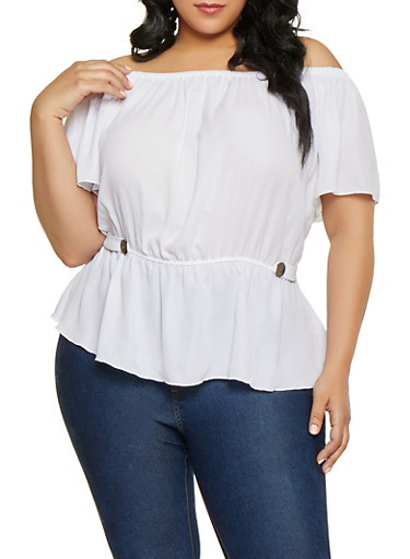Plus Size Ruffle Hem Off the Shoulder Top,WHITE,large
