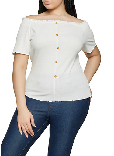 Plus Size Off the Shoulder Wooden Button Top,WHITE,large