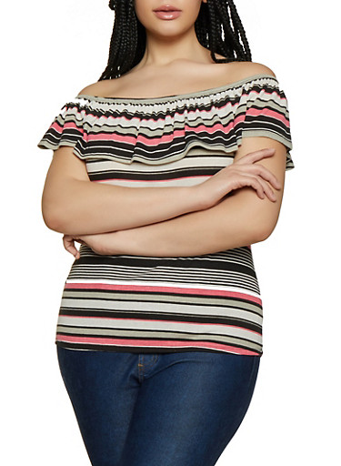 Plus Size Striped Rib Knit Off the Shoulder Top,GRAY,large