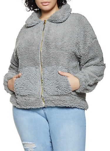 Plus Size Sherpa Zip Front Sweatshirt,GRAY,large