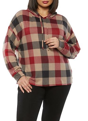 Plus Size Plaid Hooded Sweatshirt,RED,large