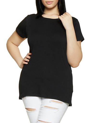 Plus Size Basic Short Sleeve Tee,BLACK,large