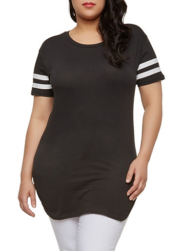 Plus Size Varsity Stripe Basic T Shirt,BLACK,large