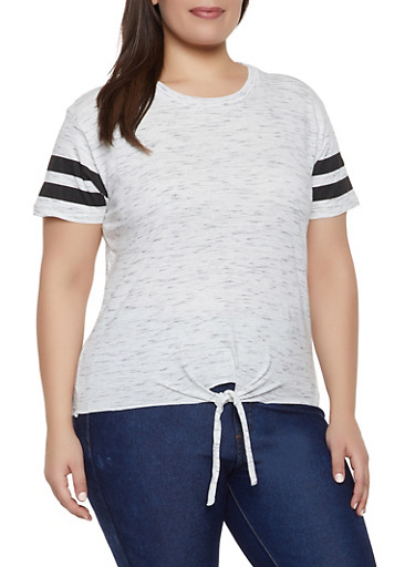 Plus Size Varsity Stripe Tie Front Tee,OATMEAL,large