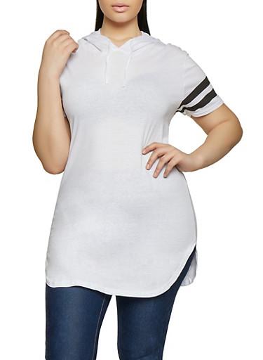 Plus Size Hooded Varsity Stripe Tunic Tee,WHITE,large
