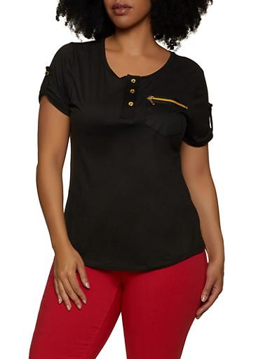 Plus Size Half Button Zip Pocket Top,BLACK,large
