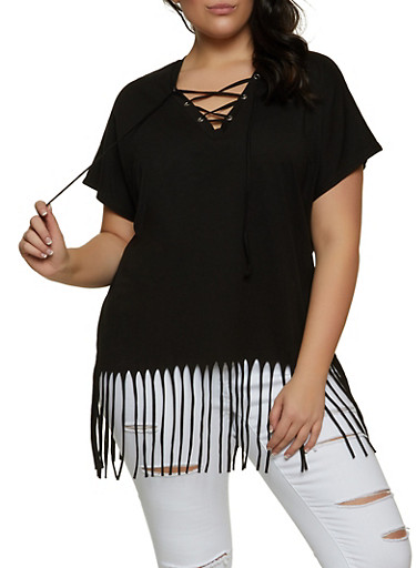 Plus Size Lace Up Fringe Top,BLACK,large