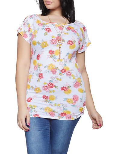 Plus Size Ruched Floral Top with Necklace,IVORY,large