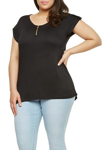 Plus Size Zip Up Neck Top,BLACK,large