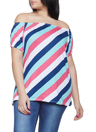 Plus Size Striped Off the Shoulder Tee,GREEN,large