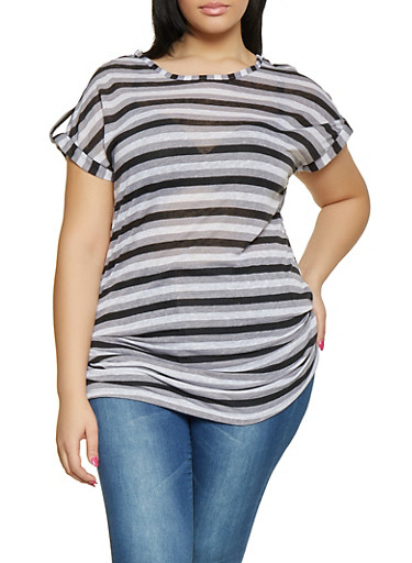 Plus Size Ruched Striped Top,BLACK,large