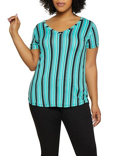 Plus Size V Neck Striped Tee,JADE,large