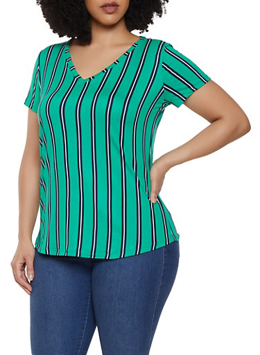 Plus Size Striped V Neck Top,GREEN,large
