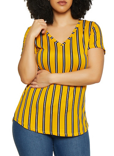 Plus Size Striped V Neck Top by Rainbow