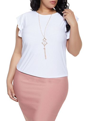 Plus Size Flutter Sleeve Top with Necklace,WHITE,large
