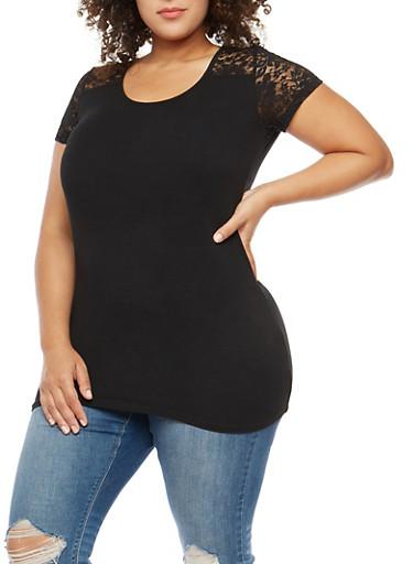 Plus Size Lace Yoke Tee,BLACK,large