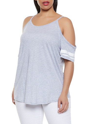 Plus Size Cold Shoulder Tee,HEATHER,large