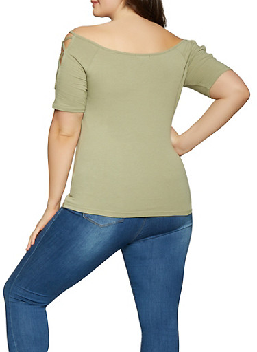 435cbe3164a Plus Size Caged Off the Shoulder Top - Rainbow