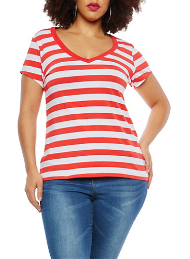 Plus Size Striped T Shirt,POPPY COMBO,large