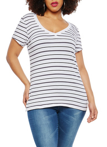 Plus Size Striped T Shirt,WHITE-BLACK-GREY,large