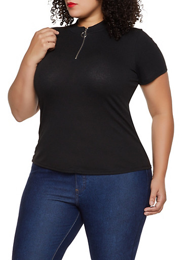 Plus Size Zip Neck Ribbed Top,BLACK,large