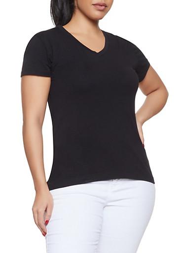 Plus Size Short Sleeve V Neck Tee,BLACK,large