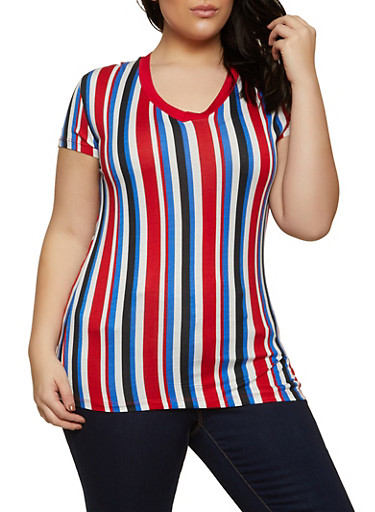 Plus Size Short Sleeve V Neck Striped Tee,RED,large
