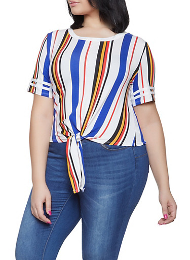 Plus Size Striped Tie Front Tee,WHITE,large