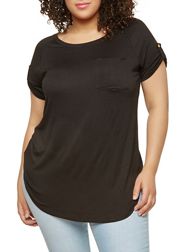 Plus Size Solid Tunic Top,BLACK,large