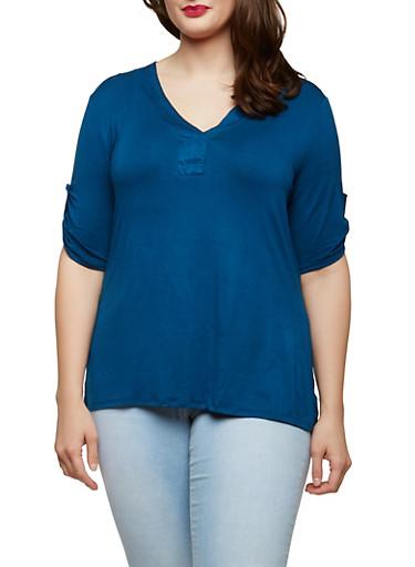 Plus Size Tabbed Sleeve Basic T Shirt,ROYAL,large