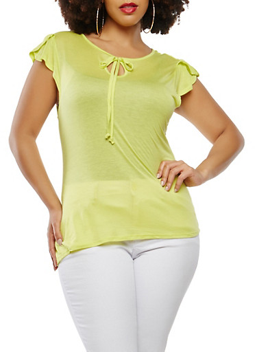 Plus Size Basic Flutter Sleeve Top,LIME,large