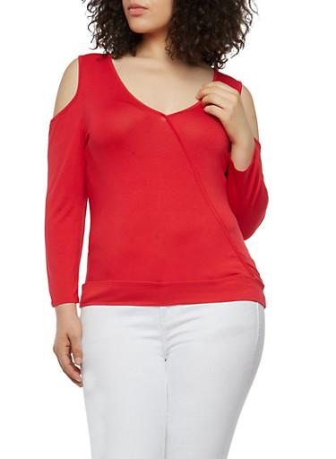 Plus Size Stitch Trim Cold Shoulder Top,RED,large