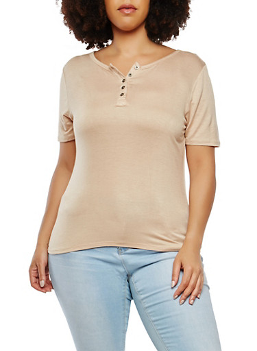 Plus Size Button Detail Tee,MOCHA,large