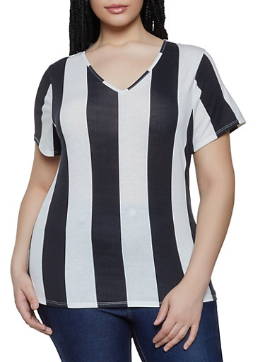 Plus Size Two Tone Vertical Striped Tee,IVORY,large