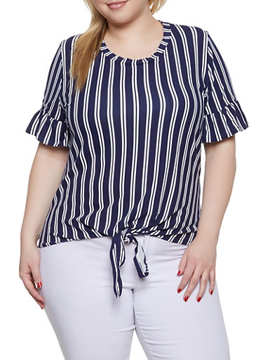 Plus Size Bell Sleeve Striped Top,NAVY,large