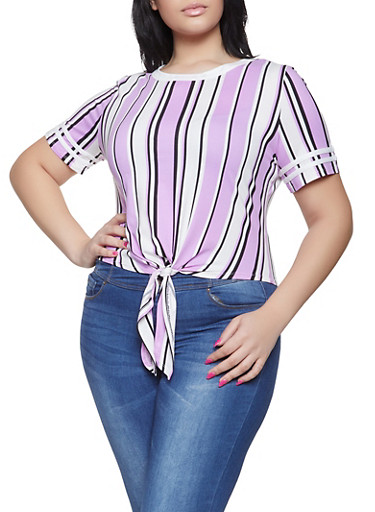Plus Size Striped Tie Front Tee,LAVENDER,large
