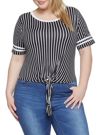 Plus Size Striped Tie Front Tee   1915074285006,BLACK/WHITE,large