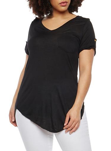 Plus Size Tab Sleeve T Shirt,BLACK,large