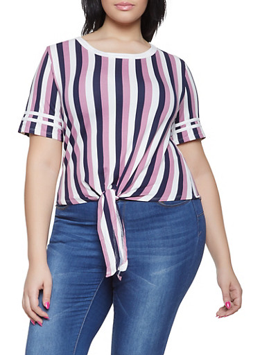 Plus Size Striped Tie Front Tee | 1915074285044,NAVY,large