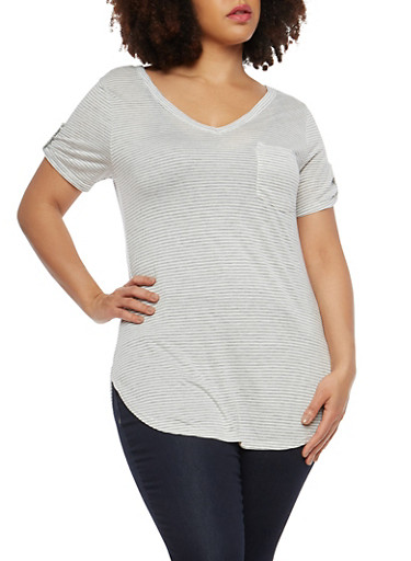 Plus Size Striped V Neck T Shirt,HEATHER-WHITE,large