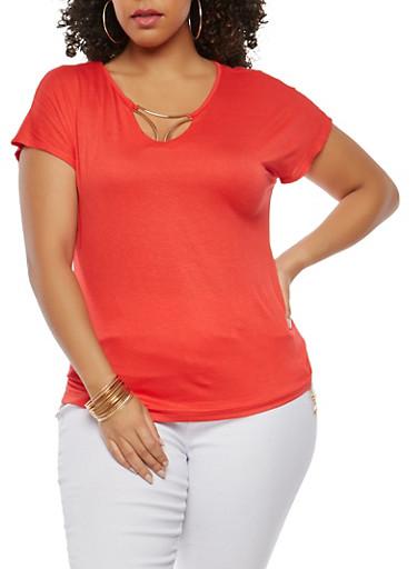 Plus Size Metallic Insert T Shirt,RED,large