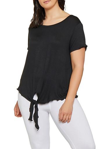 Plus Size Tie Front Top | 1915074287006,BLACK,large