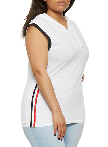 Plus Size Side Stripe Hooded Top,WHITE,large