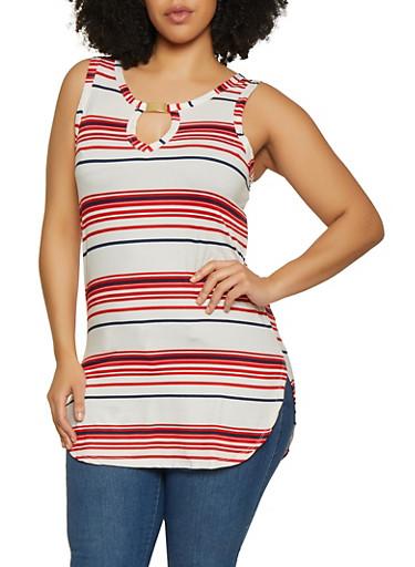 Plus Size Soft Knit Striped Tank Top,WHITE,large