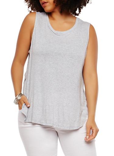 Plus Size Basic Sleeveless Round Hem Tunic Top,HEATHER,large