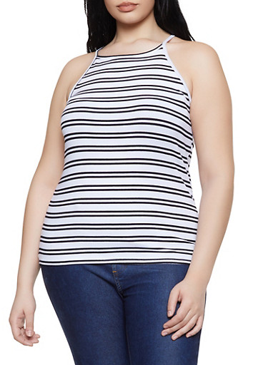 Plus Size Striped Racerback Cami,WHITE,large