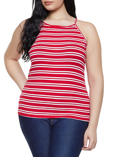 Plus Size Striped Racerback Cami,RED,large