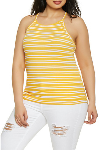 Plus Size Striped Racerback Cami,MUSTARD,large