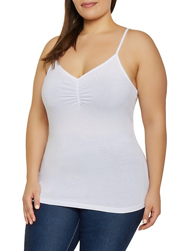 Plus Size Shirred Cami,WHITE,large
